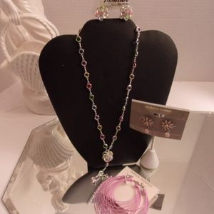 PRETTY IN PINK NECKLACE & 3 EARRINGS